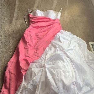White and Pink Prom Dress.